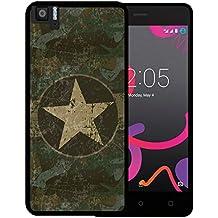 Funda Bq Aquaris M5, WoowCase [ Bq Aquaris M5 ] Funda Silicona Gel Flexible Estrella Militar, Carcasa Case TPU Silicona - Negro