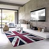 Teporio | Union Jack Flagge Im Vintage Design | England UK | Pflegeleichter Jugendteppich Fürs Wohnzimmer, Schlafzimmer, Kinderzimmer | Schadstoffgeprüft, Allergikergeeignet (160 x 230 cm)