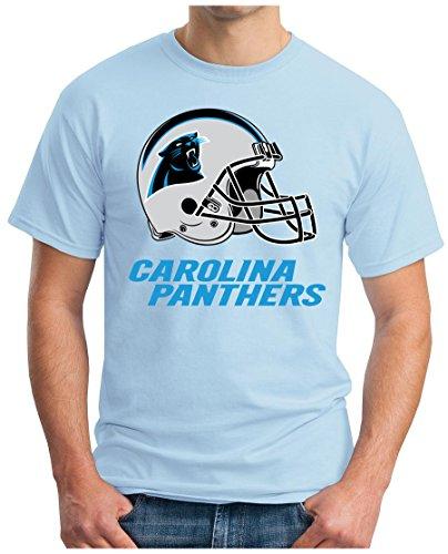 OM3 Carolina Panthers - T-Shirt | Herren | American Football Shirt | Super Bowl 52 LII | NFL | S - 5XL Hellblau