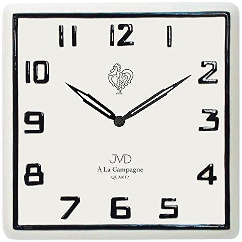 JVD TS2618.1 Küchenuhr Wanduhr Küche Quarz analog Keramik weiß Keramikuhr eckig