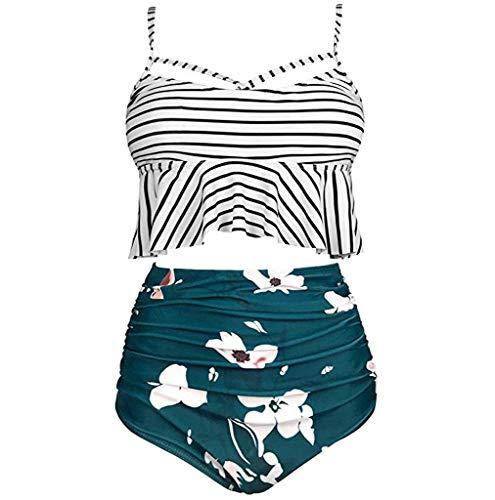 Damen Bikini Set High Waist Badeshorts Bandeau Bademode Rüschen Swimwear Sexy Badeanzug Shapermint Retro Badehose Rückenfrei Strandkleidung Bikinihose Swimsuit Zweiteiliger(Armeegrün.XXL) -