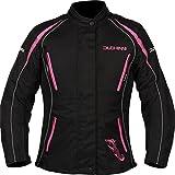 DUCHINNI Womens 4 Season Motorcycle Jacket (Black/Pink, US 12/UK 16)
