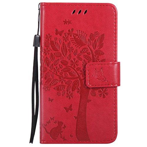 Guran® PU Leder Tasche Etui für Microsoft Lumia 550 Smartphone Flip Cover Stand Hülle und Karte Slot Case-rote