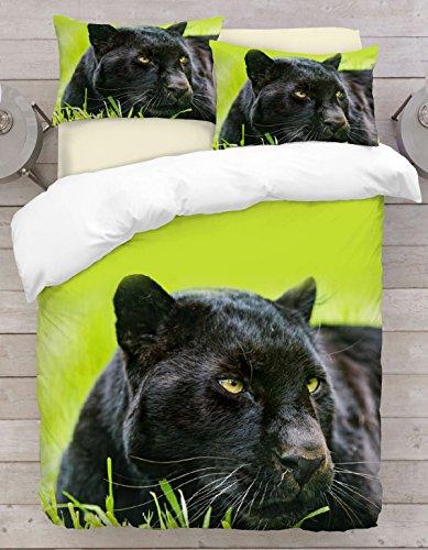Adam Home 3D Digital Printing Bett Leinen Bettwäsche-Set Bettbezug + 2x Kissenbezug - Black Panther (Alle Größen)
