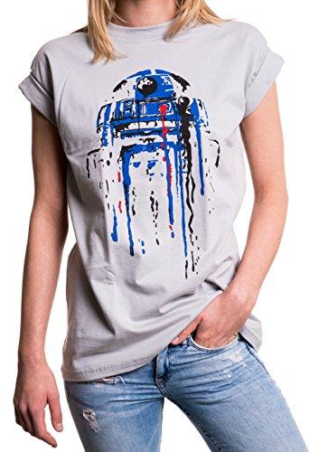 Oversize Frauen T-Shirt mit Aufdruck - Big Bang Theory Star Child - Longshirt Übergröße sehr weit geschnitten grau wars L