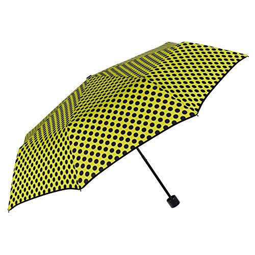 Paraguas Plegable Amarillo Lunares Negros Mujer Antiviento