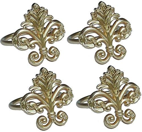 Manor Luxe Fleur de Lis Elegante Metall Serviette Ringe, goldfarben, 4Stück (Ringe Lis-serviette De Fleur)