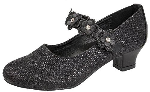 Party-Schuhe für Mädchen, Mary Jane-Schuhe, mit Glitzersteinen, niedriger Absatz, für Brautjungfern, Schwarz - Black - Flower Strap - Größe: 30 EU  (Knöchel Keile Gurt Leder)