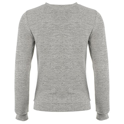 Digga Femmes Léger Sweater Sweat Pull Blouse Top Col Rond Manche Longue Gris Marl