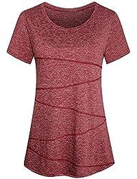16cc4d274223 iYmitz Damen Fahsion Bluse Kurzarm Yoga Tops Activewear Lauftraining T-Shirt  Oberteil