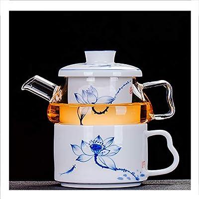 2 in 1 Théière unique Filtre en céramique,eau chaude et froide,anti-explosion Résistant à la chaleur induction vert, jasmin,thé noir,café,lait,salon,Motif en porcelaine bleue et blanche 250ml