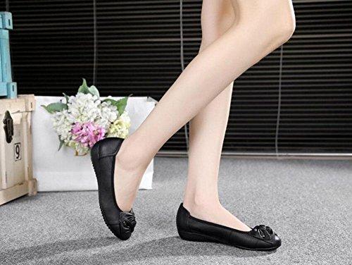 Donne Scarpe Piattaforme Mocassini Bowknot Scarpe Casual Elastiche In Pelle Scarpe Singole Passeggiate Black