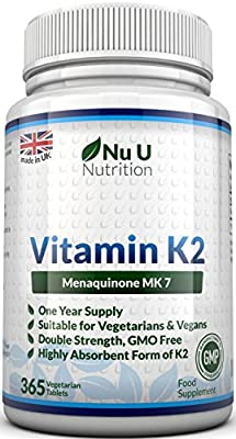 Vitamin K2 MK 7 200mcg – 365 Vegetarian and Vegan Tablets, One Year Supply of Vitamin K2 Menaquinon MK7 by Nu U Nutrition by Nu U Nutrition