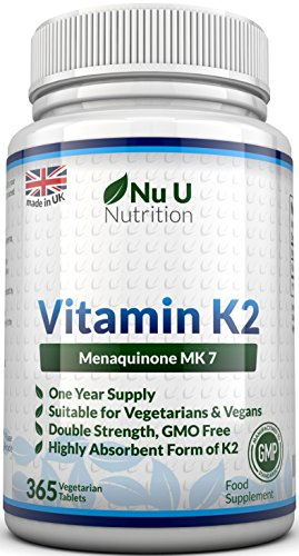 Vitamin K2 MK 7 200mcg – 365 Vegetarian and Vegan Tablets, One Year Supply of Vitamin K2 Menaquinon MK7 by Nu U Nutrition