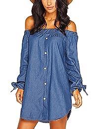 Jeanskleid mit Carmen-Ausschnitt, Strandkleid 2 Tragevariationen