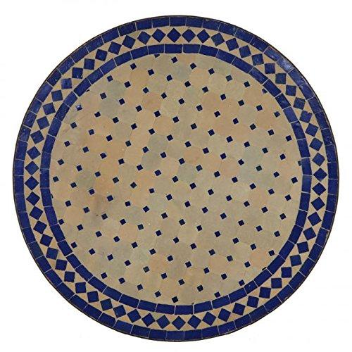 Mediterraner Gartentisch marokkanischer Mosaiktisch Ø 120 cm rund blau terrakotta mit Gestell H 75 cm | Kunsthandwerk aus Marrakesch  Dekorativer Balkontisch Bistrotisch Beistelltisch  MT2115
