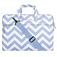 MOSISO Chevron Style Fabric Sleeve Case Cover Bag with Shoulder Strap for 13-13.3 Inch MacBook Pro, MacBook Air, Notebook Computer, Serenity Blue