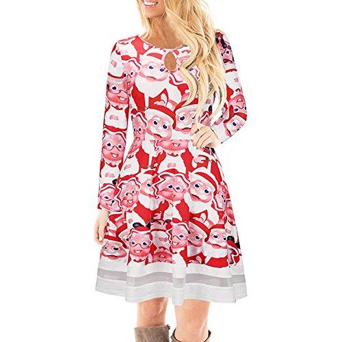 YWLINK Damen Elegant Weihnachten Karikatur Gedruckt Spitzenkleid Damen Langarm Minikleid(S,Rot c)