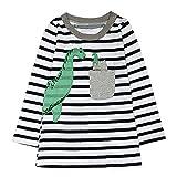 JERFER Baby Kleinkind-Mädchen Langarm Herbst Karikatur Prinzessin T-Shirt Kleid 2-6T (E, 4T)