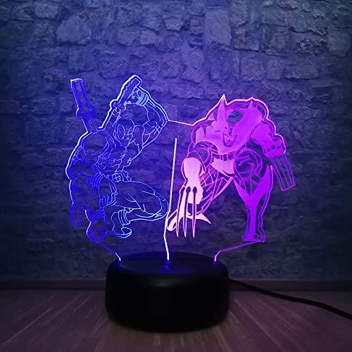 Marvel 3D Superheld Figur Wolverine Deadpool LED Lampe Mix Farbverlauf Schlaf Nachtlicht Teen Schlafzimmer Dekor Geburtstagsgeschenk
