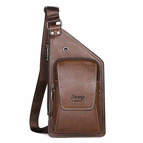 Sommer Bag Herren Chest Bag Schultertasche Rucksack Leder Reise Messenger Bag Brown (Chest Harness Taktische)