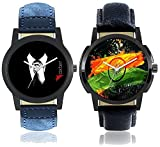 #7: Foxter Men National Flag Dial and Gentlemen Black Dial Leather Strap Watches Combo of 2