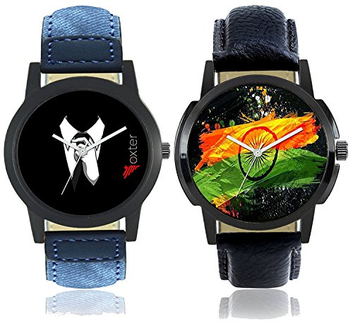 Foxter Men National Flag Dial and Gentlemen Black Dial Leather Strap Watches Combo of 2