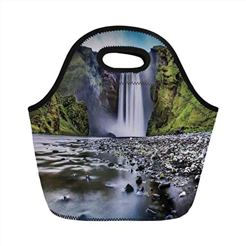 Portable Bento Lunch Bag,Waterfall,Skogafoss Waterfall in Iceland Rocky River and Highlands in Evening,Blue Green Dark Brown,for Kids Adult Thermal Insulated Tote Bags