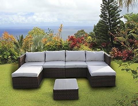 New Rattan Wicker Conservatory Outdoor Garden Furniture Set Corner Sofa Table Dark mixed brown by UK Leisure World