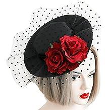 Da.Wa Atractivo de las Flores de Sombrero para Partido y Fiesta de Mascarada