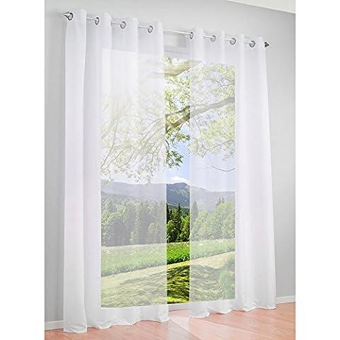 1Pc Rideau Voilage Couleur Uni Rideaux à Oeillets Décoration de Fenêtre Chambre / Salle de Bain / Balcon (140x145cm, blanc)