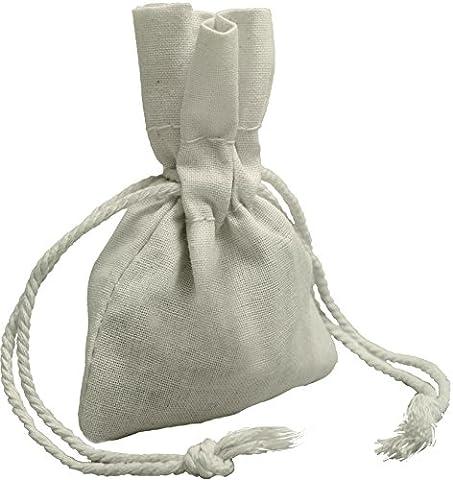100% mousseline de coton Cordon de serrage Sacs de 12pour le rangement Pantry cadeaux, Coton, blanc, 3 x 4 - 24 pack