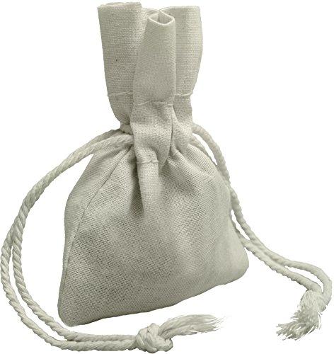 100 Prozent Baumwolle Beutel Mit Kordelzug, Stoffsack Mit Band Zum Zuziehen - Organisch Und Natürlich - (7x10 - 24 Stück, Weiss) (Tote Handtasche Medium Schmuck)