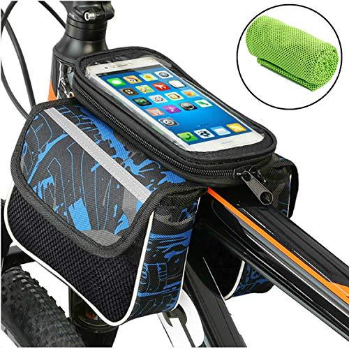"""Moliwen Fahrrad-Rack-Tasche, Kopfrohrtasche, Satteltasche für das obere, wasserfeste Fahrrad-Telefonhalterung für iPhone 7 6 / 6s Plus Samsung Galaxy S7 S6 Plus Nexus und andere 6 \""""Mobiltelefone"""