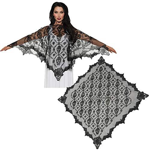 TYZY Halloween Schwarze Kette gestrickte Spitze Schal Schädel Design Lady Cape Urlaub Kostüm für Festliche Party Supplies 112x112cm