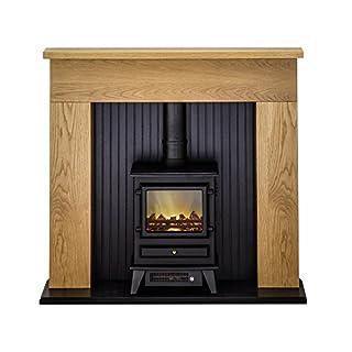 Adam Innsbruck Oak Electric Stove Fireplace Suite, 2000 Watt