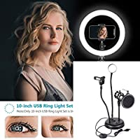 AIOXY Multifunction Microphone Stand with LED Ring Light Adjustable Stand for Makeup Youtube Video, Mini USB LED Camera Light with Phone Holder, Remote for Live Stream