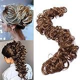 TESS Haarverlängerung Hellbraun Ponytail Extension DIY Haargummi Haarteil Dutt Synthetik Haare für Haarknoten Zopf Pferdeschwanz Hair Extensions 32