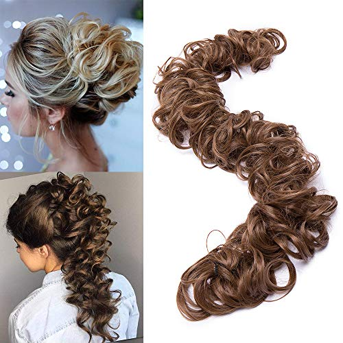 """TESS Haarverlängerung Hellbraun Ponytail Extension DIY Haargummi Haarteil Dutt Synthetik Haare für Haarknoten Zopf Pferdeschwanz Hair Extensions 32"""" (80cm) 85g"""