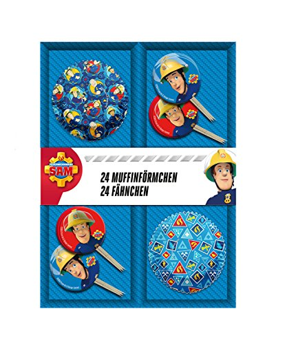 p:os 27198 Feuerwehrmann Sam 24x Muffinförmchen mit 24x Fähnchen im Geschenkkarton (Feuerwehrmann-backformen)