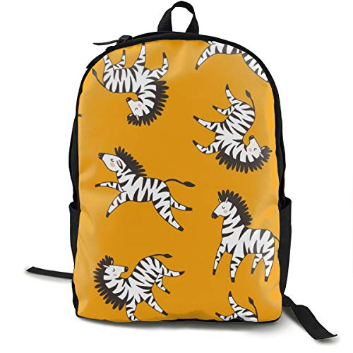 Zebras On Yellow Adult Premium Travel Backpack, Water-Resistant College School Bookbag, Sport Daypack, Outdoor Rucksack, Laptop Bag for Men&Women