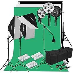 Kit Éclairage Studio Photo, Kit Studio Photo avec 3 Softbox avec 4 Douilles + 12x45W Ampoules + 3x80(2m) Trépieds + 3 Fonds + 2mx3m Support de Fond+ Sac de Transport