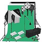 Kit Éclairage Studio Photo, Kit Studio Photo avec 3 Softbox avec 4 Douilles + 12x45W Ampoules + 3x80(2m) Trépieds + 3 Fonds + 2mx3m Support de Fond+ Sac de Transport...