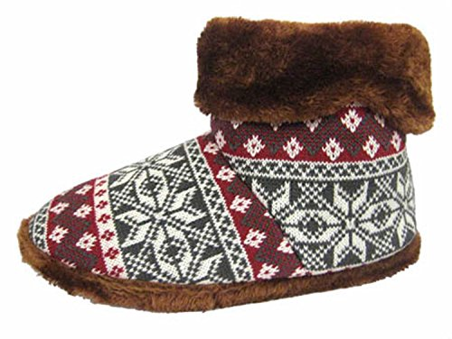 Kühler Herren Snugg warme Fairisle Print Design Slipper Boot Rot
