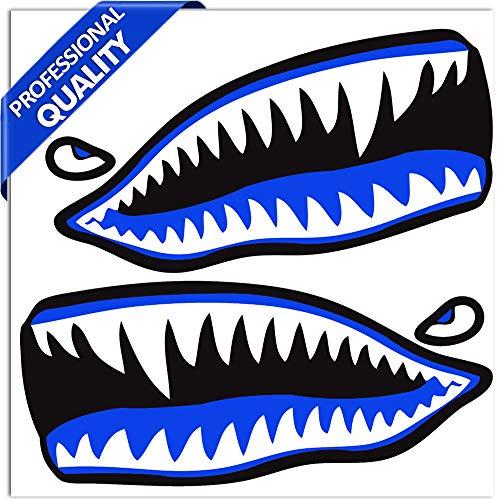 SkinoEu® 2 x /1 Paar/Vinyl Aufkleber Autoaufkleber Hai Zähne Shark Racing Rallye Stickers Auto Moto Motorrad Fahrrad Fenster Tür Tuning B 63