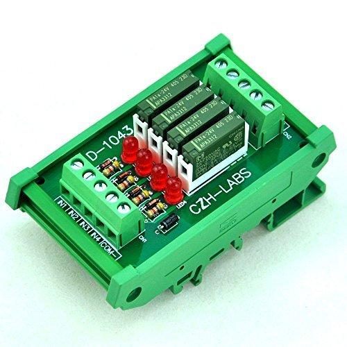 Electronics-Salon Slim DIN Rail Mount 24 V DC Quelle/PNP 4 spst-no 5 A Power Relay Modul, PA1 a-24 V. - 24v 5 Din-module