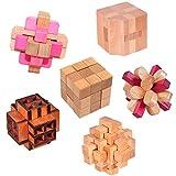 KINGOU 6 Pcs 3D Geduldspiel Intellektuell Herausfordernd Aus Holz Knobelspiel Logik Verschlungene Spielzeug,Erwachsene / Kinder