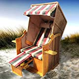 Strandkorb Helgoland 2-Sitzer für 2 Personen 90cm breit Rot Beige Grün kariert Gartenliege Sonneninsel Poly-Rattan