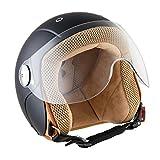 SOXON SK-55 Kids Night · Pilot Vespa Vintage Retro Kids Mofa Helmet Biker Bobber Scooter Cruiser Demi-Jet Moto Casque Jet pour Enfant Chopper · ECE certifiés · visière inclus · y compris le sac de casque · Noir · XS (51-52cm)