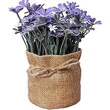 Leisial Lino Flores Artificiales Jardín de Flores Pequeño Potted Plant Estilo Pastoral para Decoración de Casa Sala Mesa de Comedor